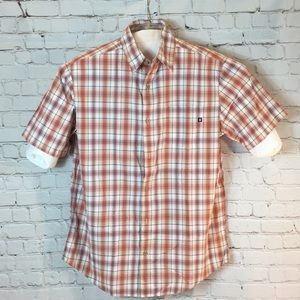 Marmot orange blue plaid button shirt Short Sleeve